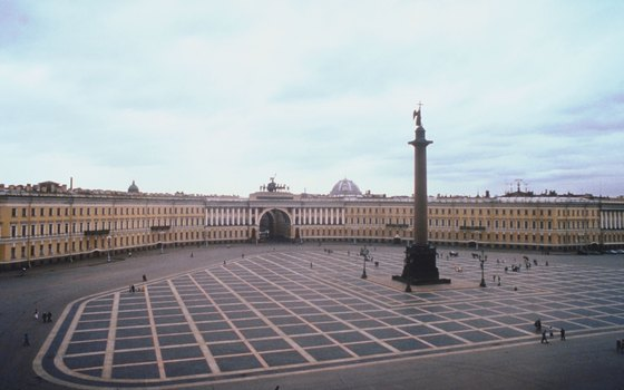 The Alexander Column soars approximately 155 feet over Palace Square.