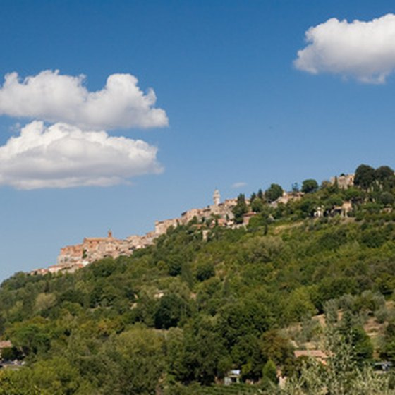 Montepulciano is sited on a hilltop in Tuscany, Italy.