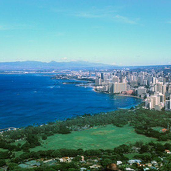 An aerial view of Waikiki beach.