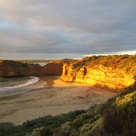 Golden beaches are part of the scenery for cruises to Australia.