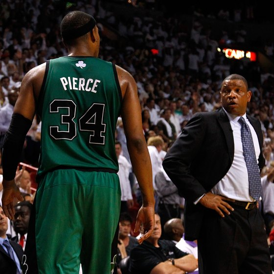When Paul Pierce fouled out of a 2012 NBA playoff game, Boston Celtics coach Doc Rivers, right, sent in a substitute.