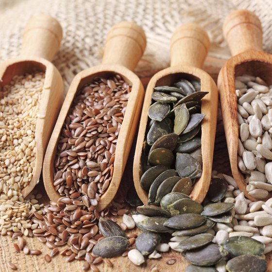 Sesame, flax, pumpkin and sunflower seeds provide fiber and protein.