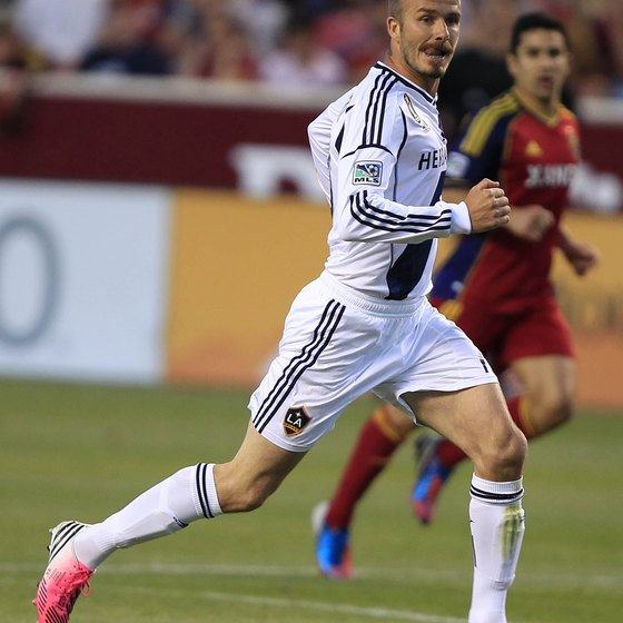 David Beckham of the L.A. Galaxy sprinting at top speed.