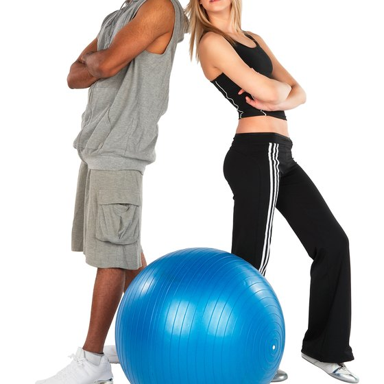 Exercise balls can be used for fun gym games.