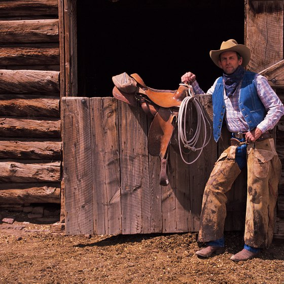 Some ranch vacationers wear chaps to protect their legs from brush.