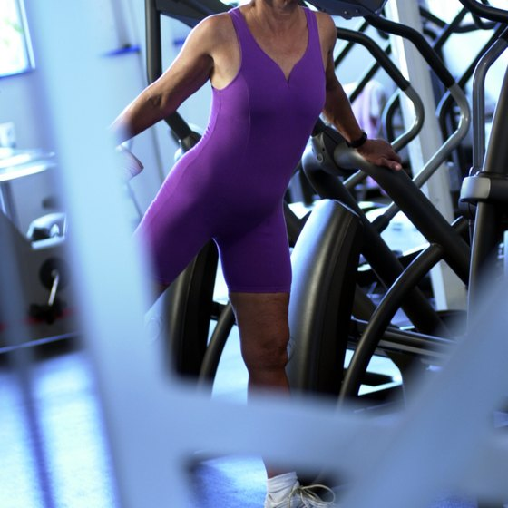 Use exercise machines to work leg muscles.