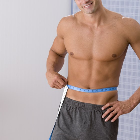 Lose that pouch with diet, exercise and stress reduction.