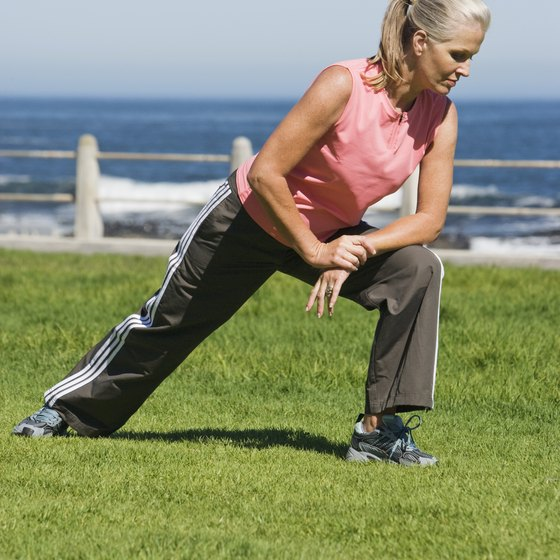 A stationary exercise, lunges, target your leg muscles.