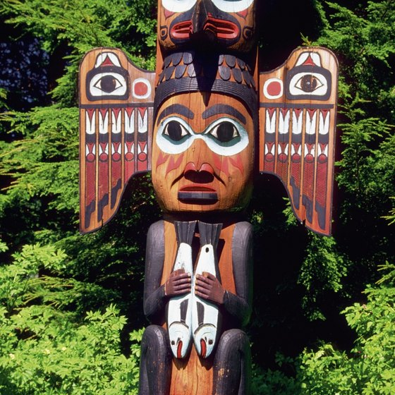 Alaska is home to many totem poles carved by Native Americans.