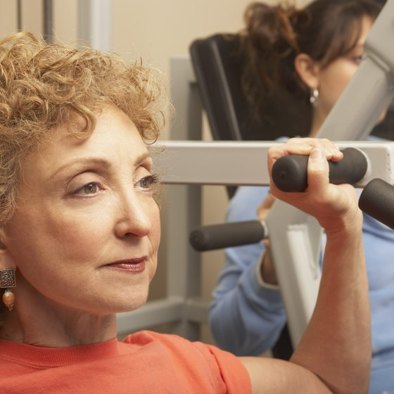 The shoulder press machine focuses on the anterior deltoids.