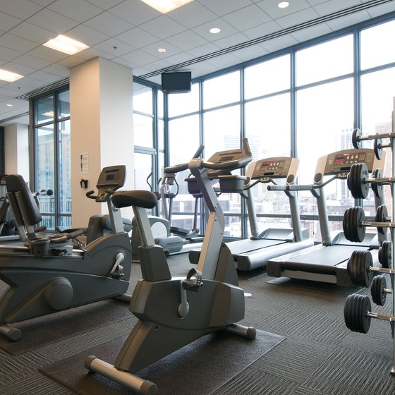 Gyms offer cardio and weight-training equipment.
