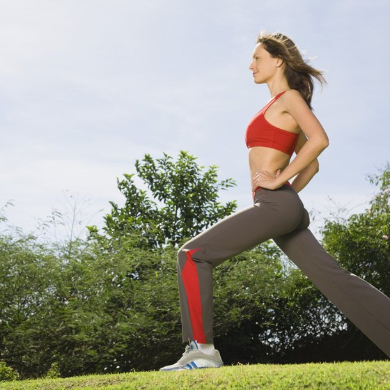 Fast lunges on stiff grass improve your lower-body power.