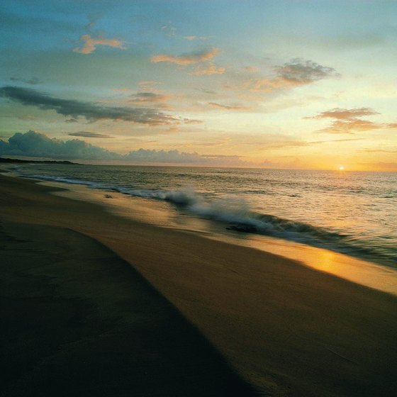 Typical sunset on a deserted Molokai beach.