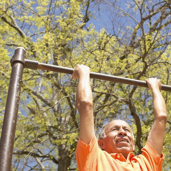 Chin-ups work arm and shoulder muscles.