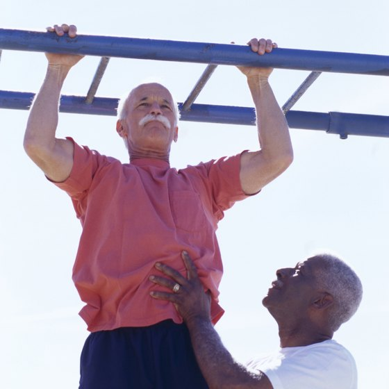If you don't have a proper pullup bar, playground equipment is a good replacement.