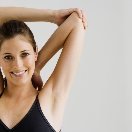 Upper arm stretches help improve flexibility.