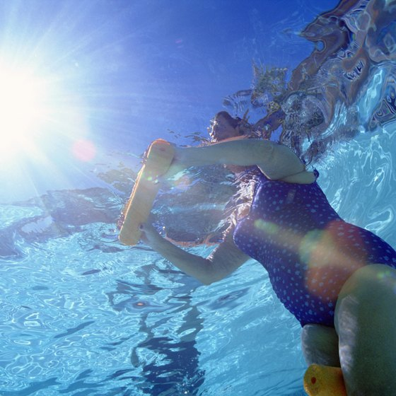 Deep water challenges your body during water aerobics.
