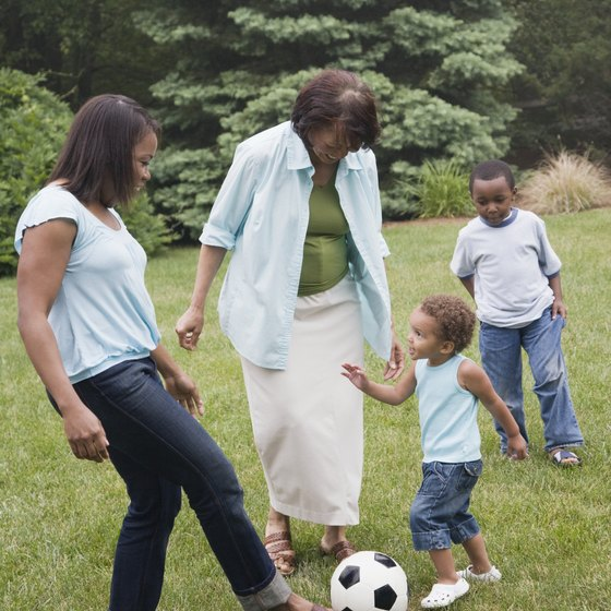 Get in shape practicing soccer with kids.