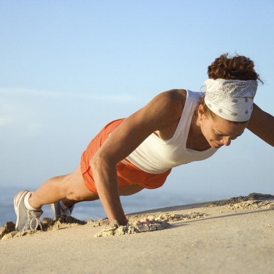 Get toned arms anywhere by doing pushups.