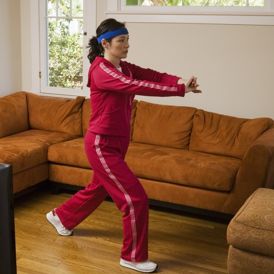 Move the furniture around so you have sufficient room to exercise.