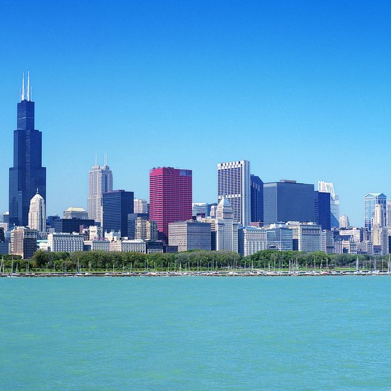 "Chicago's skyline exudes its ""City of the Big Shoulders"" image from across Lake Michigan."
