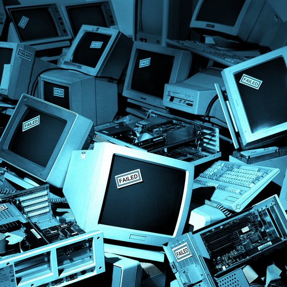 Computers awaiting recycling.