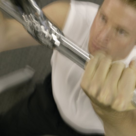 Use the lateral pull-down machine to improve your flexed-arm hang.