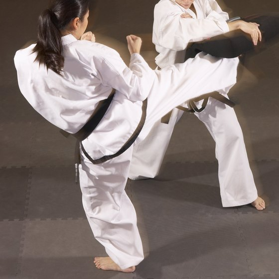 A roundhouse kick is a powerful tae kwon do technique.