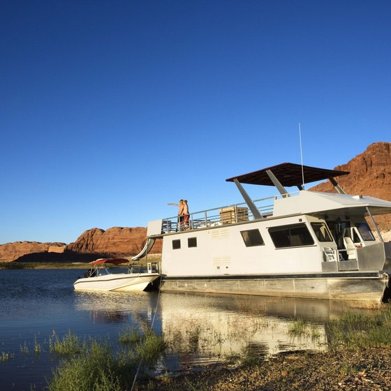 Houseboating is a favorite activity on Lake Powell.