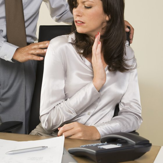 Touching a co-worker crosses a boundary and might be considered sexual harassment.