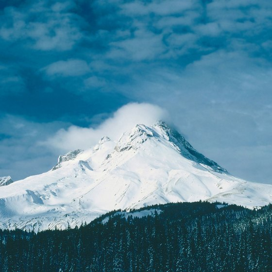 Mount Hood stands tall in the Cascade Mountain Range.