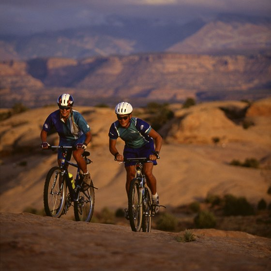 Mountain bikers travel to Moab to ride the rocky terrain.