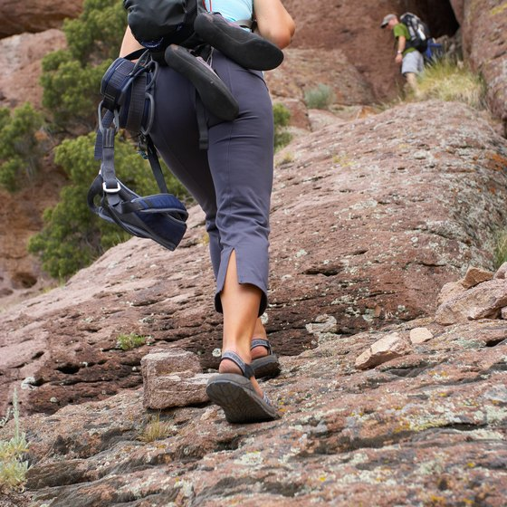 Hiking in rocky terrain requires ankle and thigh strength and flexibility.
