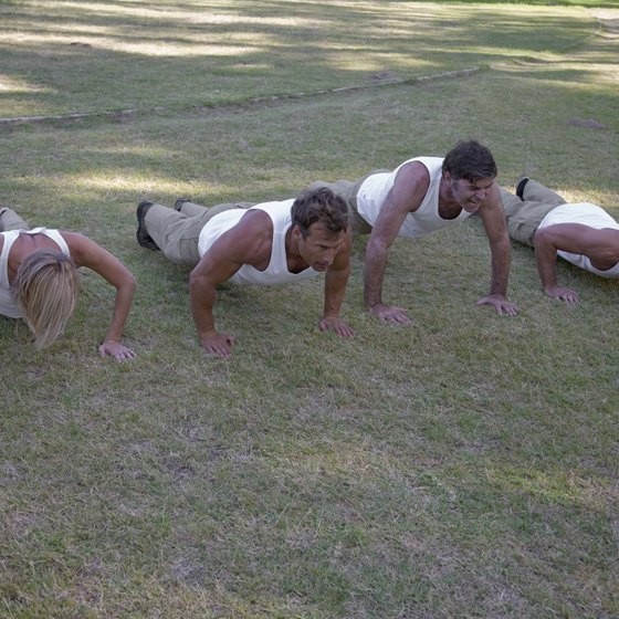 Military pushups strengthen and develop upper-body muscles.