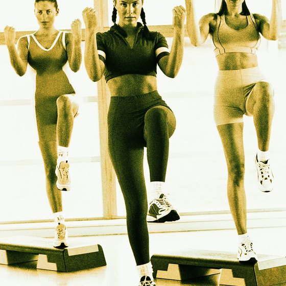 Gyms offer step aerobics as a group exercise class.