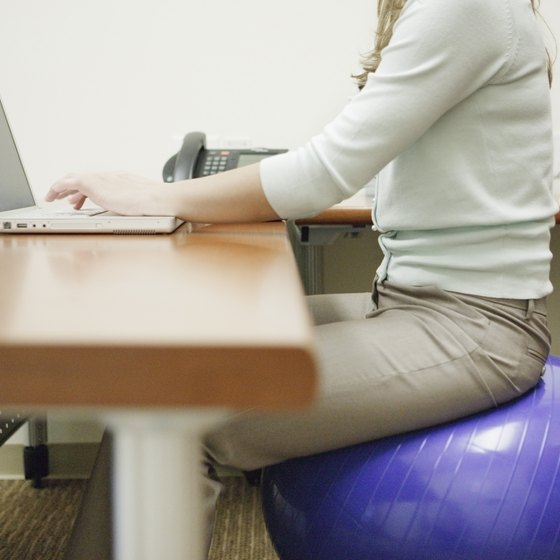Take a yoga ball to work and burn calories at your desk.