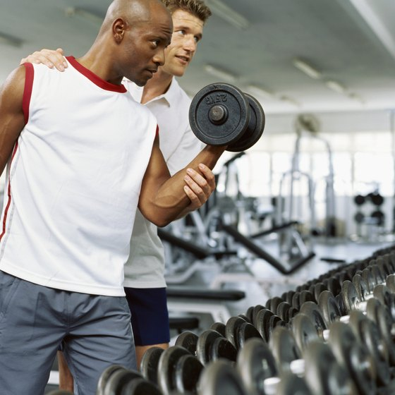 Gain muscle mass with dumbbell workouts.