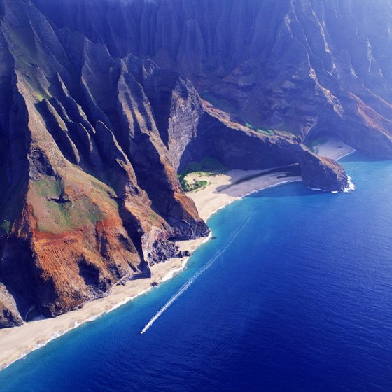 The valleys of the Na Pali coast have been carved deep by erosion.