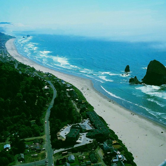 Haystack Rock lies just offshore of Cannon Beach on northwestern Oregon's rugged coast.