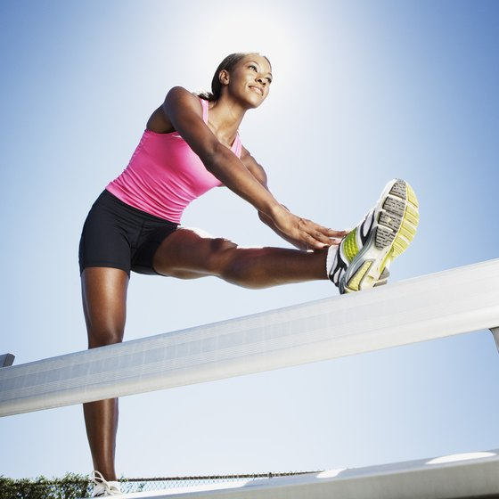 Strength train two or three times per week to build strength in your thighs.