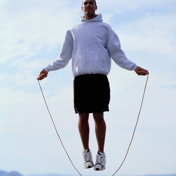 Heavy jump ropes have weighted handles and thick ropes.