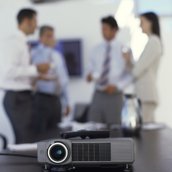 A projector allows everyone in the room to see your presentation.