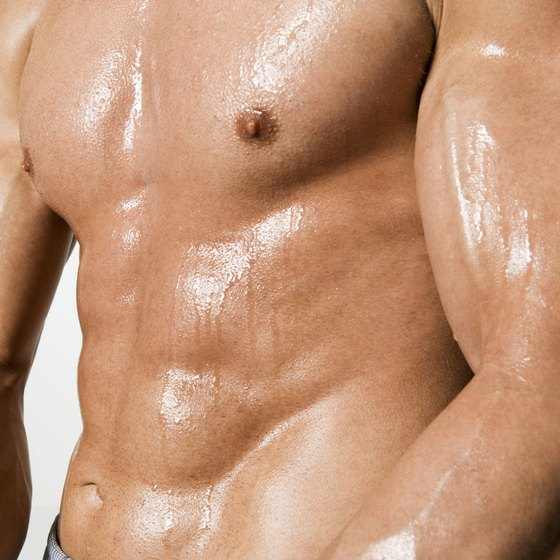 Men can develop tone in their chest, biceps and triceps in a single workout.