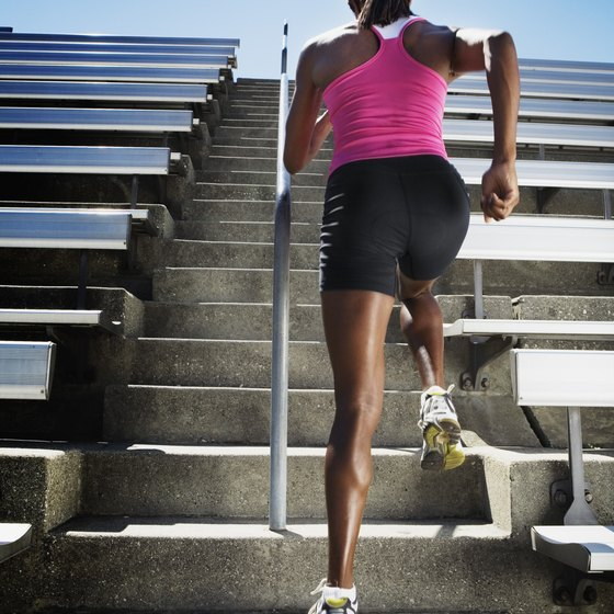 Running up stairs is an effective way to burn calories.
