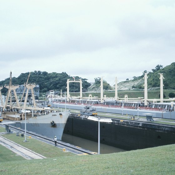 Cruises traversing the Panama Canal travel through the Milaflores Locks.