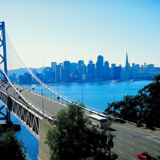 The San Francisco-Oakland Bay Bridge connects two Northern California cities.