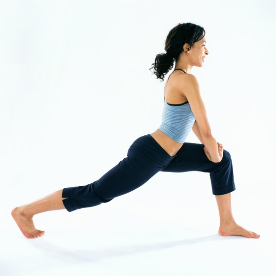Lunges can be done with or without ankle weights.