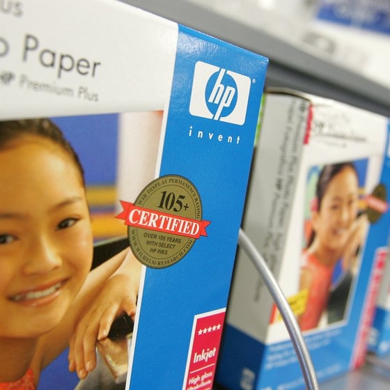 HP's printer support line includes replacement software discs in addition to printing supplies.