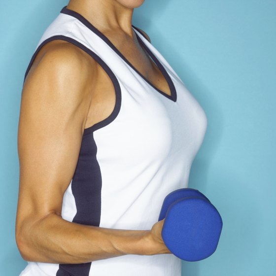 A combination of diet, weight training and isometric exercies is the best formula to attain sleek arms.