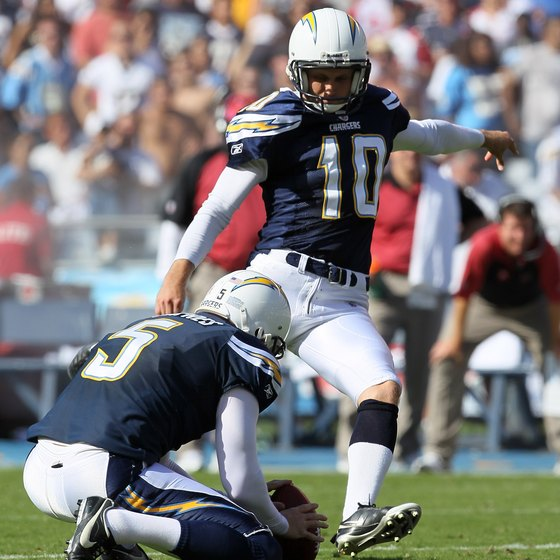 The Chargers' Nate Kaeding kicks a successful field goal.
